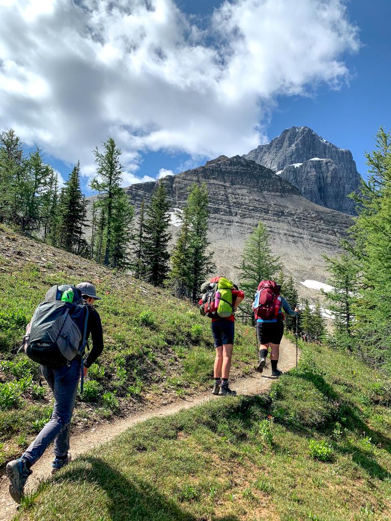 Hikers near Numa Pass on the Rockwall Trail