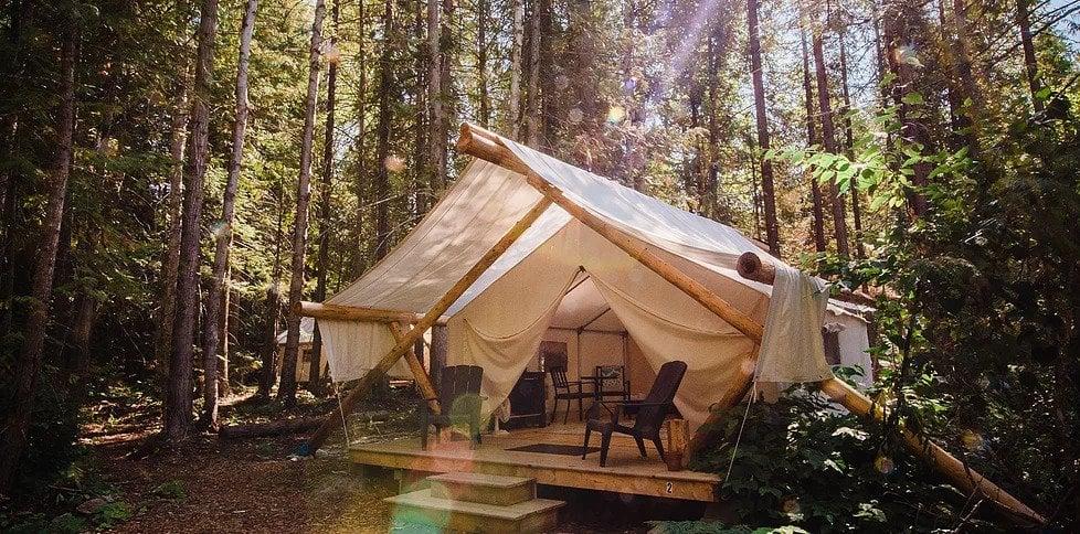 Glamping tent cabin at Cedar Haven Resort in Wells Gray Provincial Park
