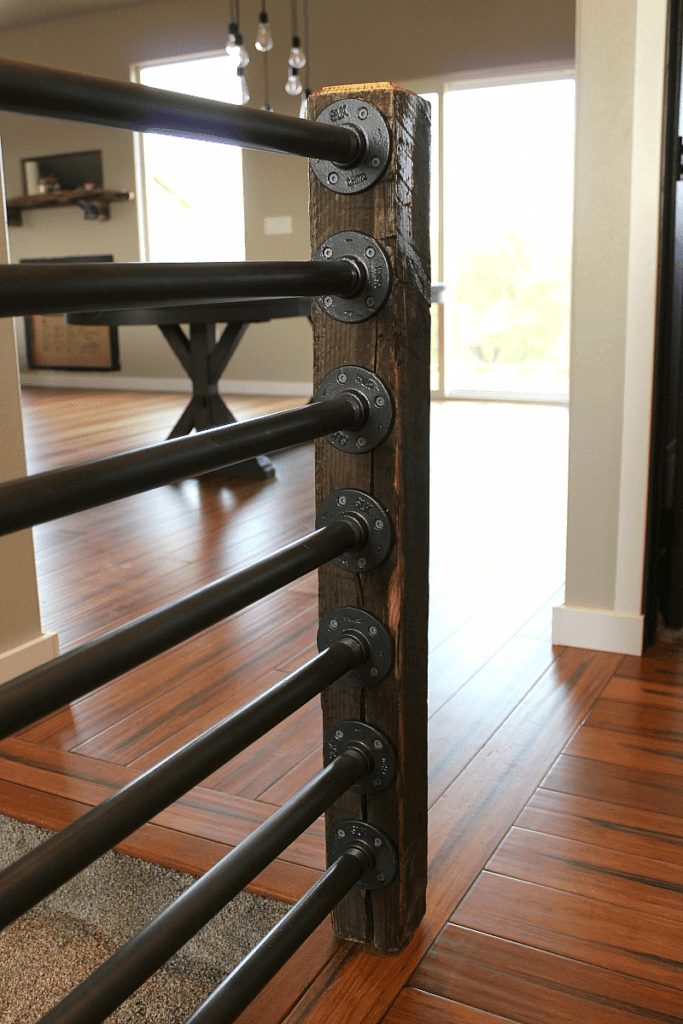 Rustic Industrial Stair Banister Happihomemade With Sammi Ricke | Black Pipe Stair Railing | Industrial Farmhouse | Iron Pipe | Banister | Diy | Wrought Iron