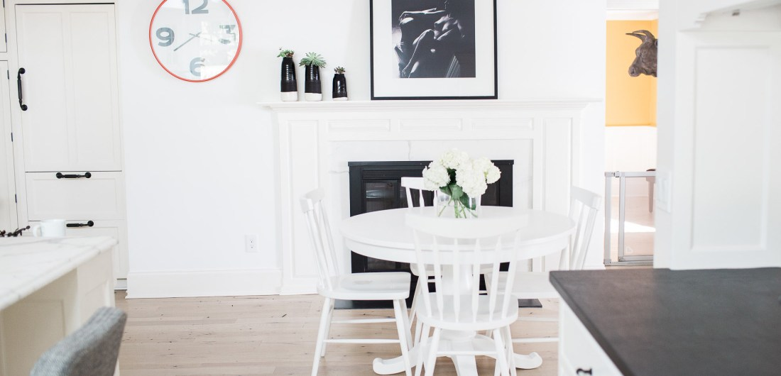A view of the modern black and white kitchen table are of Eva Amurri Martino's connecticut home