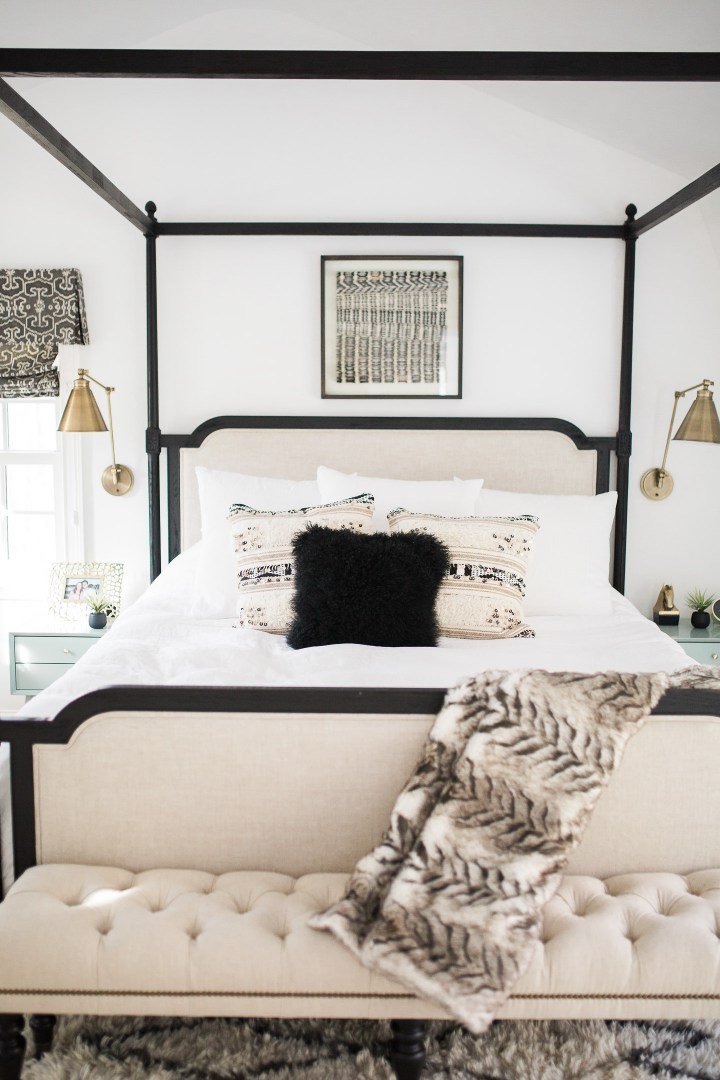 Eva Amurri Martino's black, white, and linen Master Bedroom at her home in Connecticut