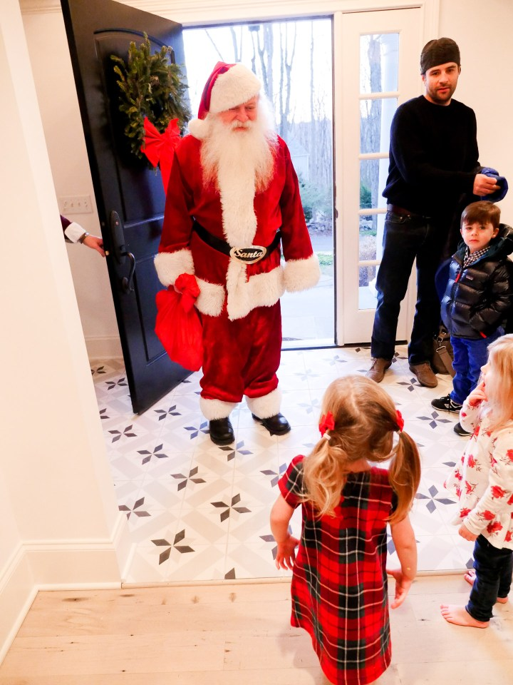 Marlowe Martino meeting Santa Clause at her home in Connecticut
