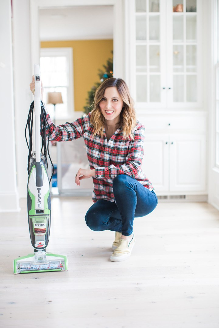 Eva Amurri martino uses the Bissell Crosswave cleaning system to prep her home for holiday parties