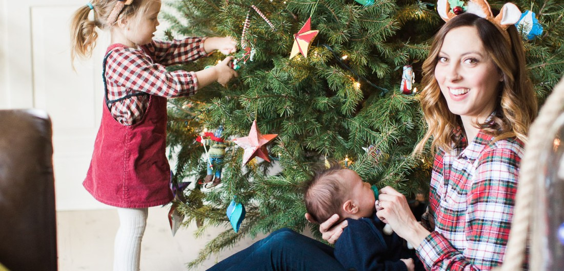 Eva Amurri Martino decorates the tree with children Marlowe and Major in her Connecticut home