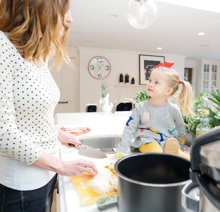Eva Amurri Martino cooks her crockpot chicken noodle soup with daughter Marlowe at home in Connecticut