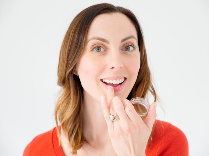 Eva Amurri Martino shows off a lip scrub as part of her monthly beauty picks for february