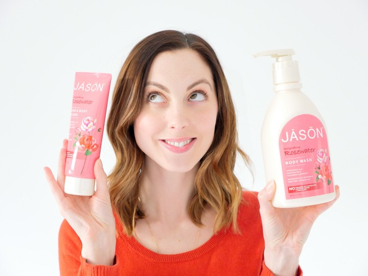 Eva Amurri Martino features JASON Rosewater hand and body lotion and body wash as part of her monthly beauty picks for february