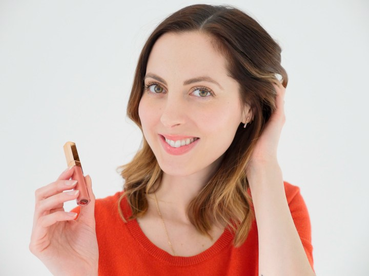 Eva Amurri Martino showcases a nude lip gloss as part of her monthly beauty picks for February