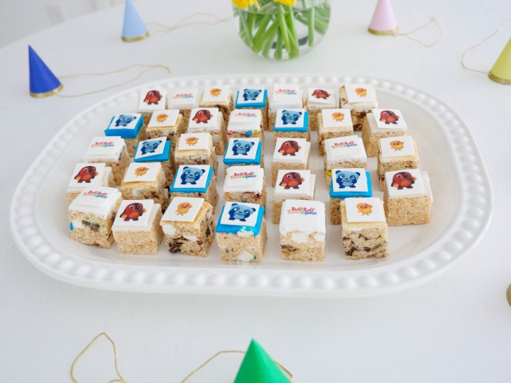 ruff-ruff, tweet and dave themed rice krispie treat bites!