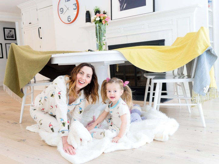 Eva Amurri Martino and Marlowe Martino hide out in their fort underneath the kitchen table