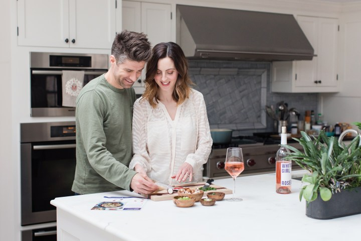 Eva Amurri Martino and Kyle Martino cook together in their kitchen in Connecticut for a Romantic Date Night In