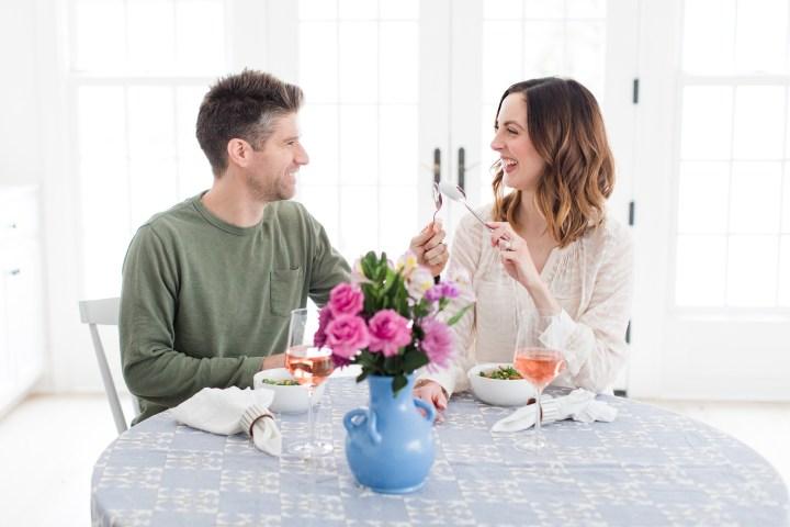 Eva Amurri Martino and Kyle Martino toast their successful Blue Apron meal