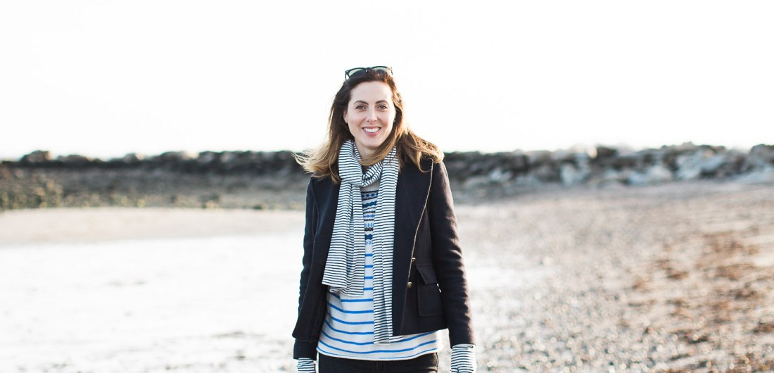 Eva Amurri Martino walks on the beach in Connecticut