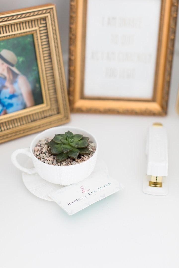 White and gold desk accessories in Eva Amurri Martino's Happily Eva After studio