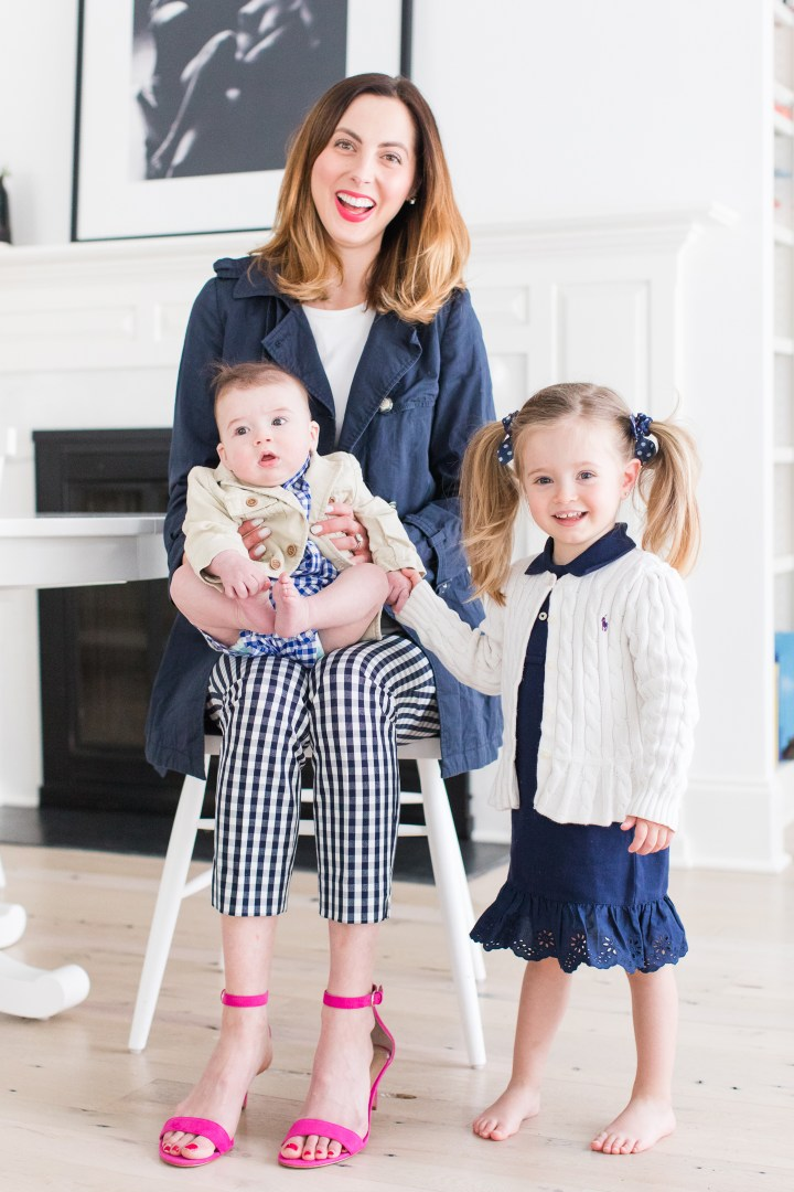 Eva Amurri Martino of lifestyle and motherhood blog Happily Eva After, sits in the kitchen of her Connecticut home with two year old daughter Marlowe and five month old son Major
