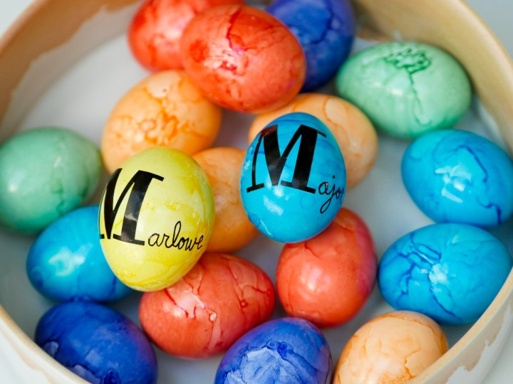 Eva Amurri Martino personalizes Easter Eggs for her children's Easter Baskets using stickers and a sharpie pen