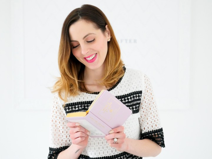 Eva Amurri Martino reads through her lavender memory book