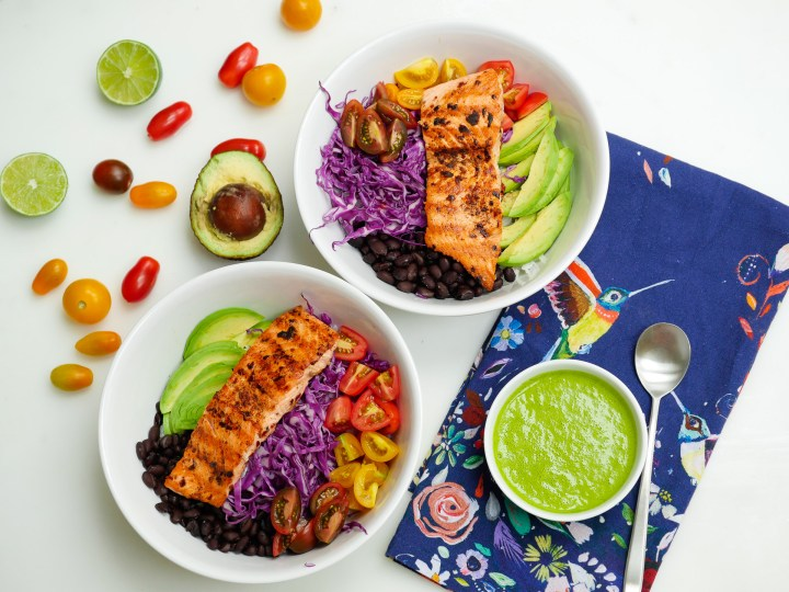 Eva Amurri Martino shares the recipe for her mexican spice-rubbed salmon bowls with a cilantro-lime vinaigrette