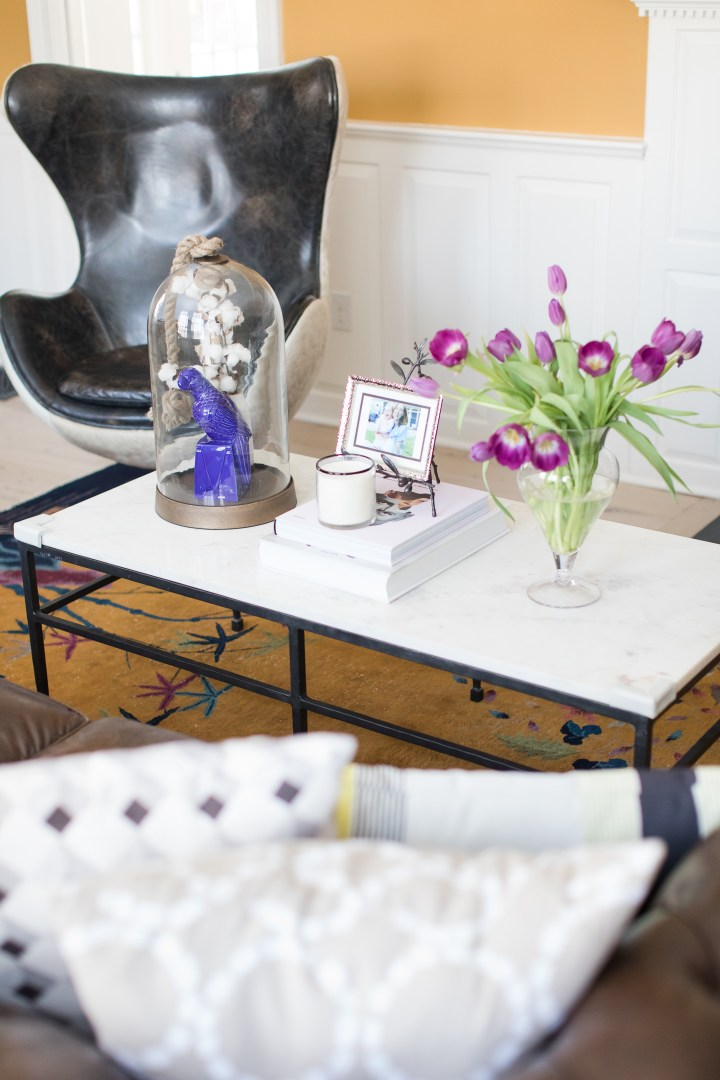 The coffee table in the formal living room of Eva Amurri Martino's Connecticut home