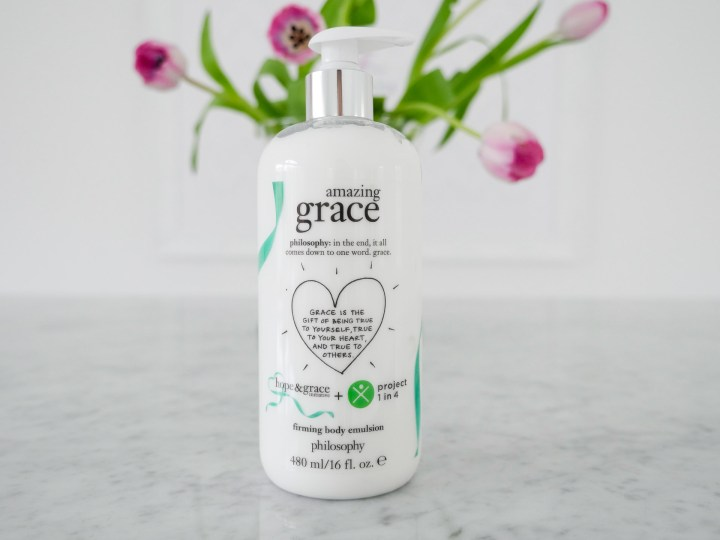 Eva Amurri Martino features Philosophy's Amazing Grace body cream in honor of Mental Health Month