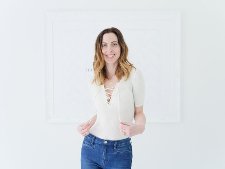 Eva Amurri Martino wears an off-white lace up Madewell body suit as part of her monthly obsessions roundup