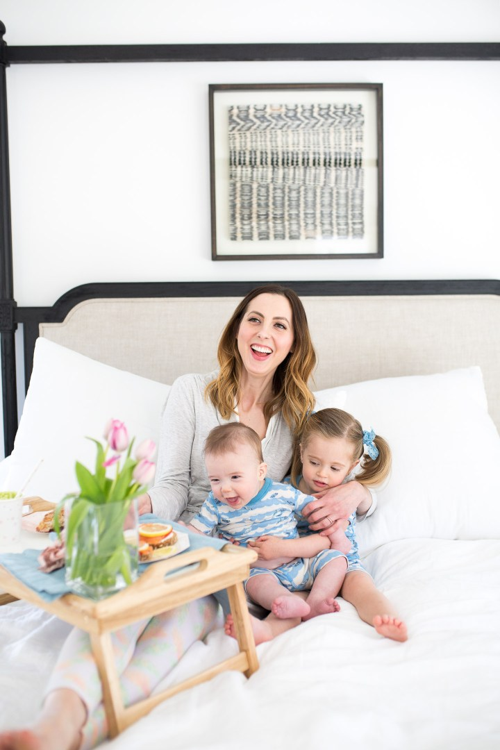 Eva Amurri Martino has both of her children on her lap for a Mother's Day breakfast in bed