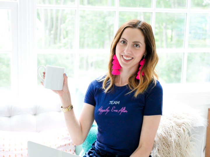 "Eva Amurri Martino wears a ""Team Happily Eva After"" tshirt designed using The Happily App"