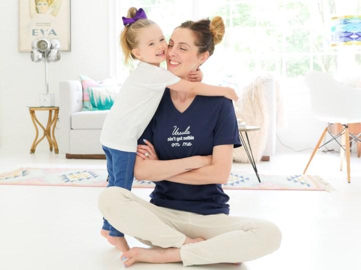 Eva Amurri Martino and Marlowe Martino wear custom Disney-inspired tshirts created using The Happily App