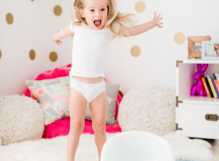 Marlowe Martino jumps for joy to be finished with potty training!