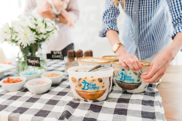 Eva Amurri Martino throws a family friendly ice cream social at her Connecticut home with Blue Bunny ice cream