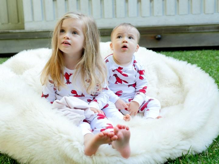 Marlowe and Major Martino wear matching lobster pajamas
