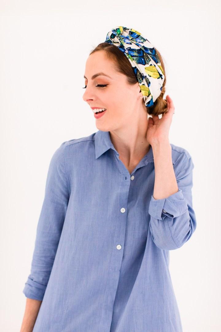 Eva Amurri Martino wears a long skinny printed silk scarf tied around head like a turban