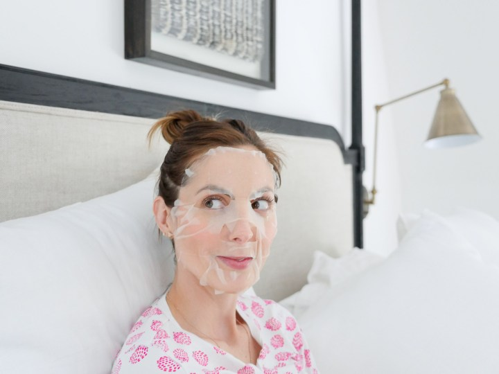 Eva Amurri Martino wears pajamas and relaxes before bed with a sheet mask