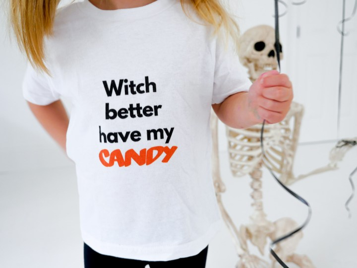 Marlowe Martino wears a festive Halloween tee shirt designed using The Happily App