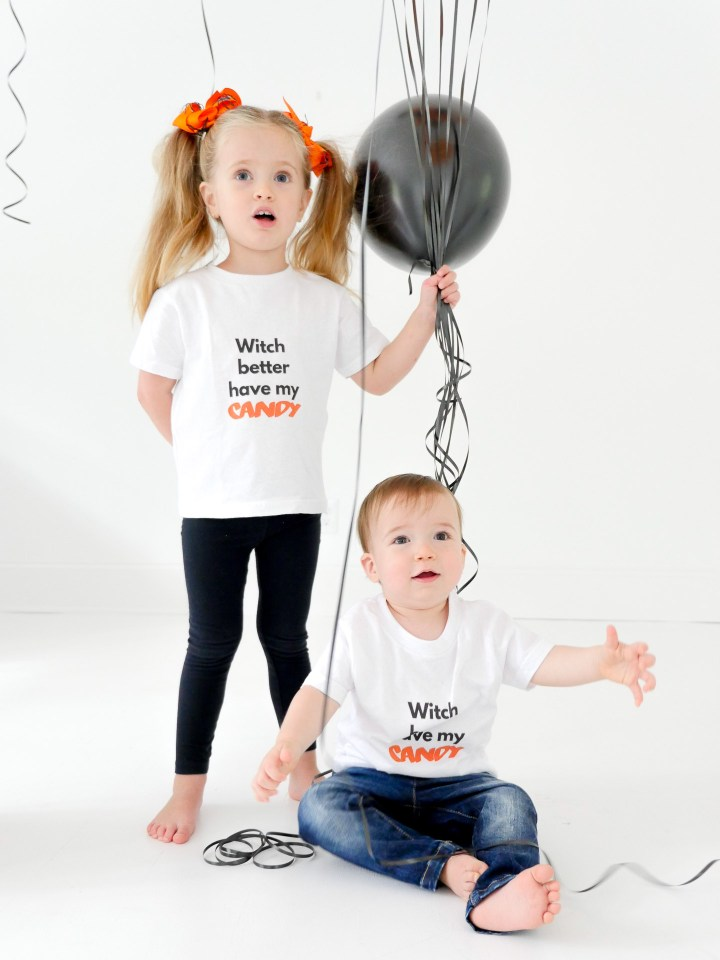 Marlowe and Major Martino get in to the Halloween spirit with custom tees designed using The Happily App
