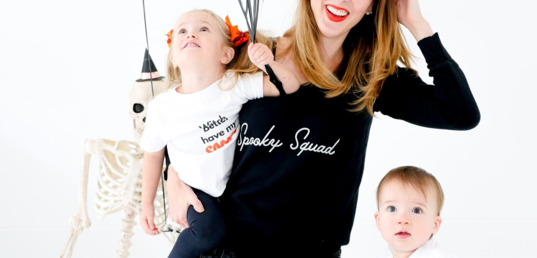 Eva Amurri Martino and children Marlowe and Major wears Halloween themed shirts from The Happily App to prepare for Halloween