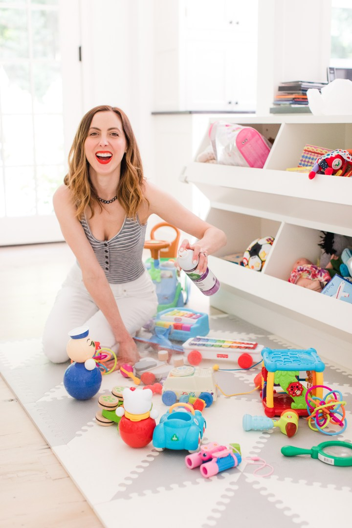 Eva Amurri Martino sprays her children's toys with Seventh Generation botanical disinfecting spray