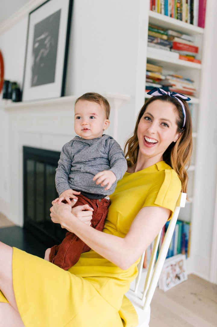 Eva Amurri Martino holds her son Major on her lap in her Connecticut home