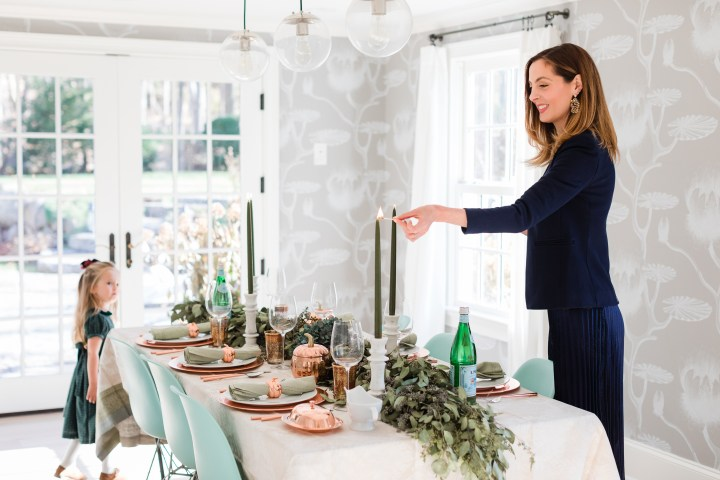 Eva Amurri Martino lights the candles at her Thanksgiving table