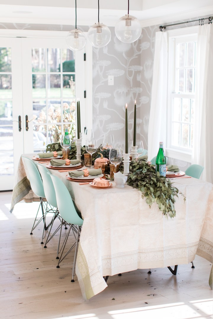 Eva Amurri Martino's green and copper Thanksgiving Table