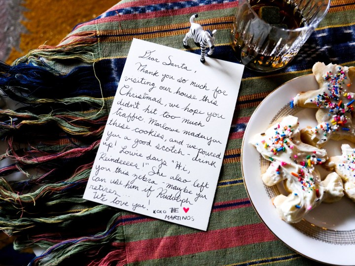 Eva Amurri Martino and her family leave out a letter and cookies for Santa on Christmas Eve