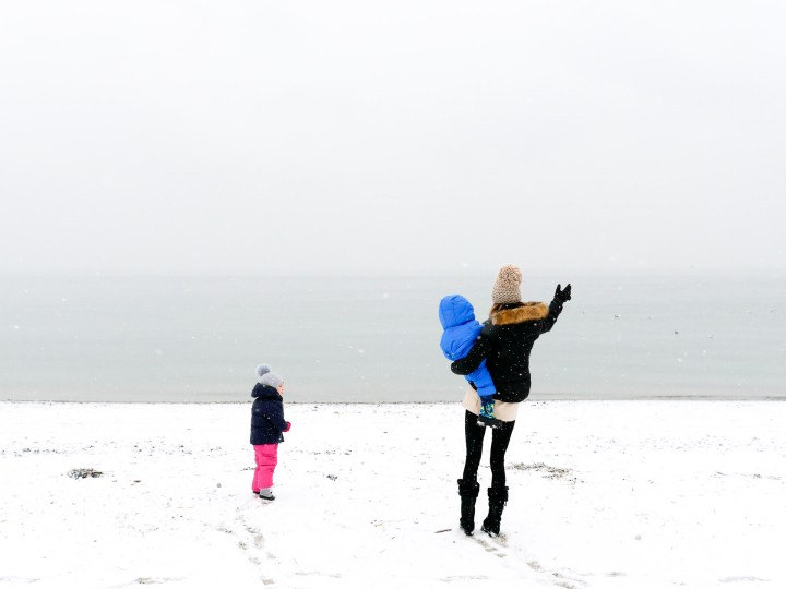 Eva Amurri Martino bundles up with her children Marlowe And Major on the snowy beach in Westport, Connecticut