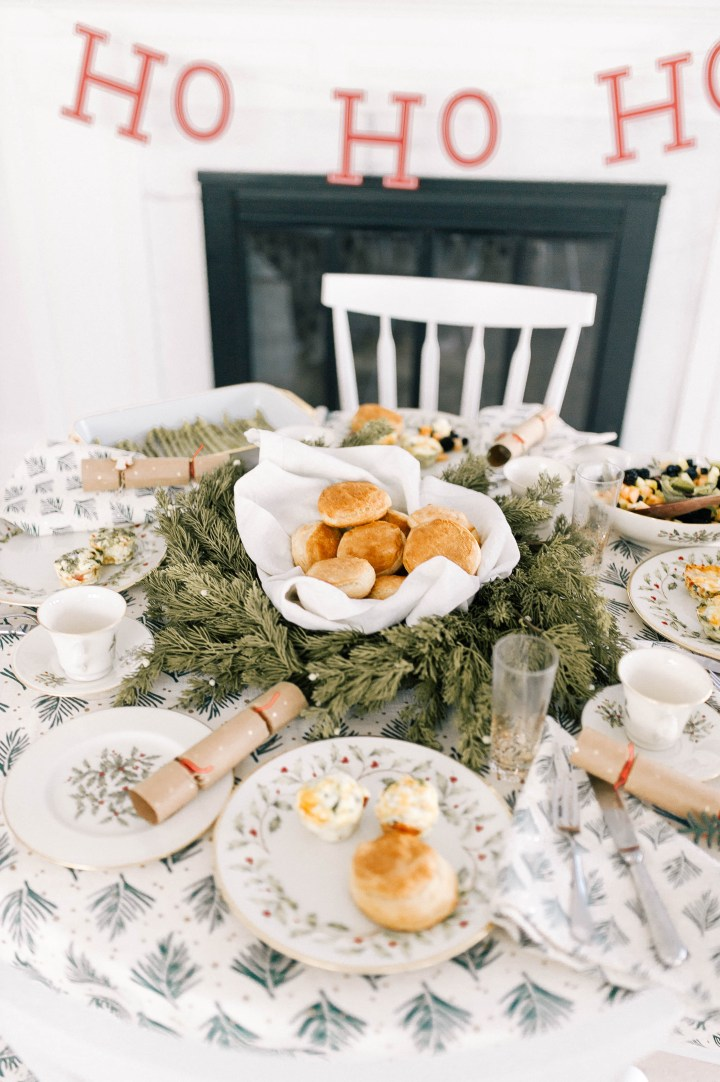 A festive Christmas day brunch using vintage china in the kitchen of Eva Amurri Martino's Connecticut home