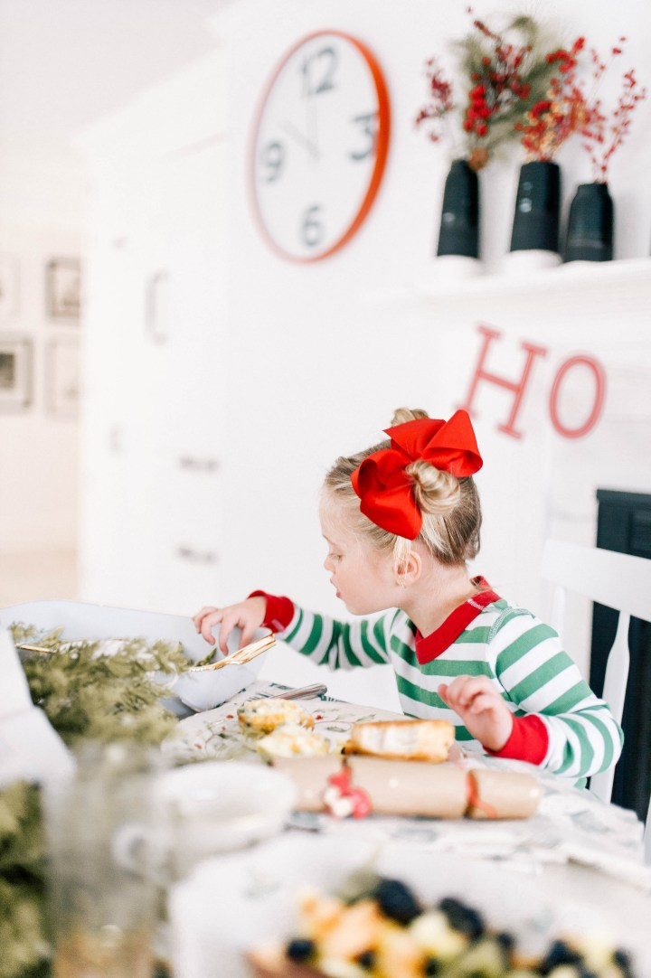 Marlowe Martino wears Christmas Pajamas and tucks in to a fabulous Christmas day brunch in the kitchen of her connecticut home