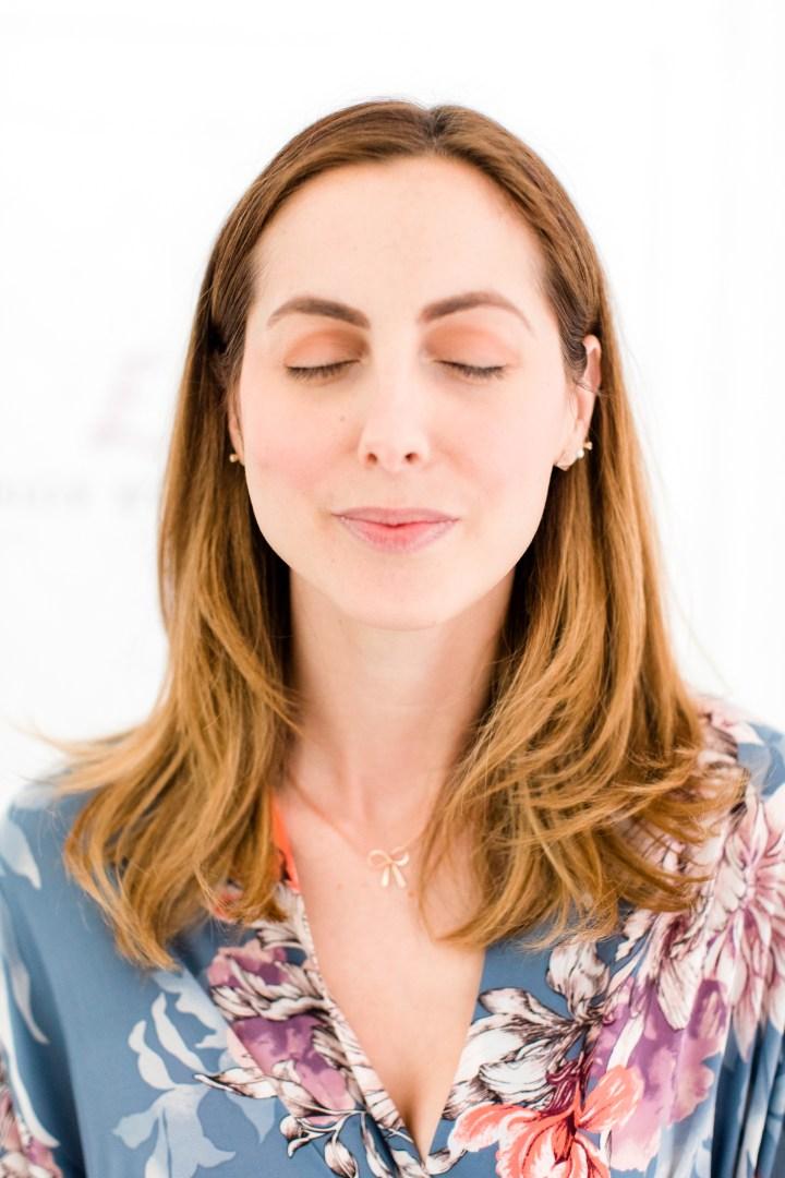 Eva Amurri Martino shows the eyeshadow on her eyes during a makeup tutorial