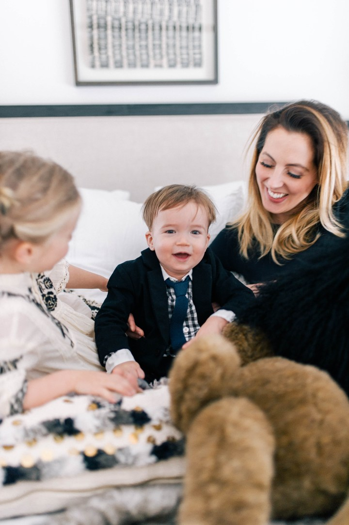 Eva Amurri Martino and her son Major James Martino and daughter Marlowe Mae Martino goofing around in bed in their Connecticut home.