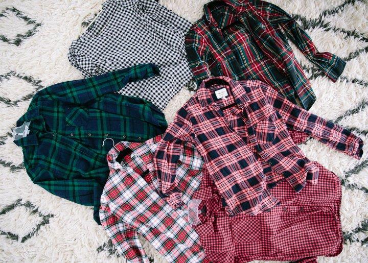 A pile of plaid shirts on the floor of Eva Amurri Martino's master bedroom