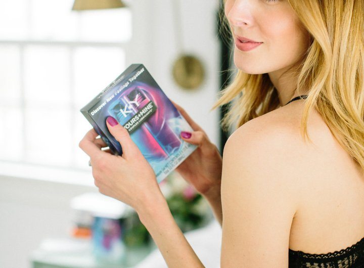 Eva Amurri Martino holds a box of K-Y lubricants for VAlentine's Day