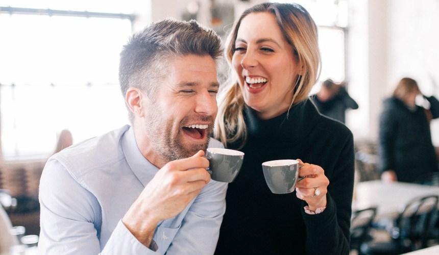 Eva Amurri Martino laughs with her husband Kyle over an espresso