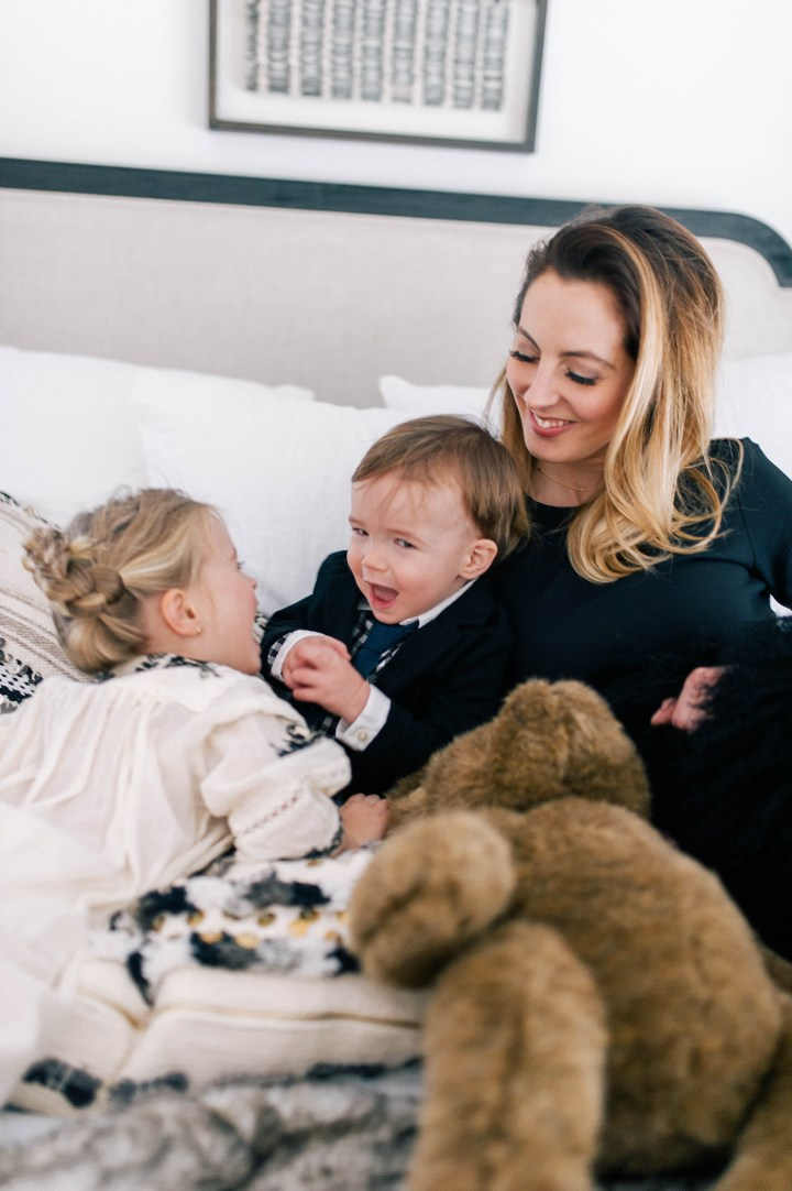 Eva Amurri Martino plays in bed with her son Major James and daughter Marlowe Mae in their Connecticut home.